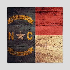 Wooden North Carolina Flag3 Queen Duvet