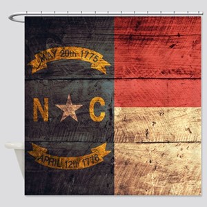 Wooden North Carolina Flag3 Shower Curtain