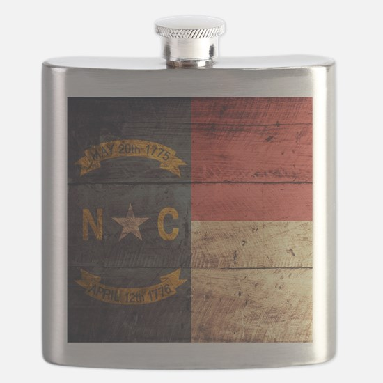 Wooden North Carolina Flag3 Flask