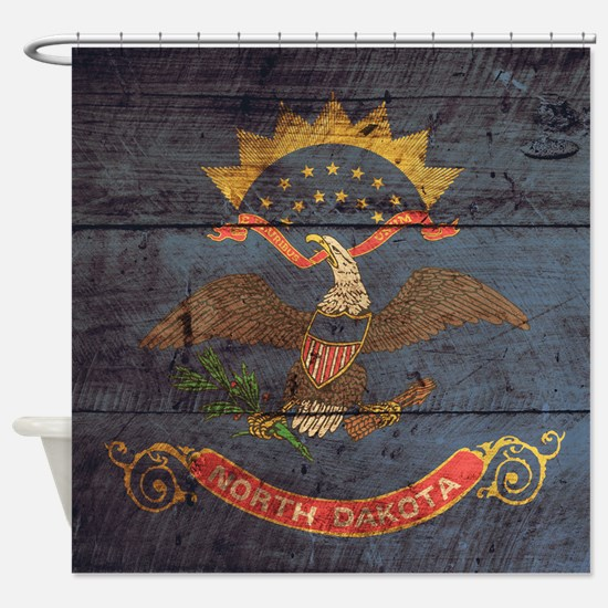 Wooden North Dakota Flag3 Shower Curtain