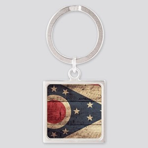 Wooden Ohio Flag3 Keychains