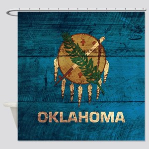 Wooden Oklahoma Flag3 Shower Curtain