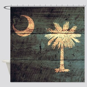 Wooden South Carolina Flag3 Shower Curtain