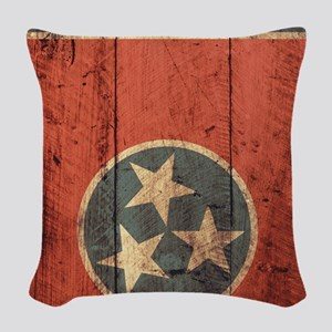 Wooden Tennessee Flag3 Woven Throw Pillow