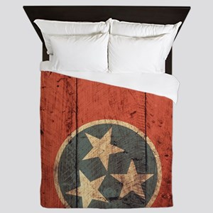 Wooden Tennessee Flag3 Queen Duvet
