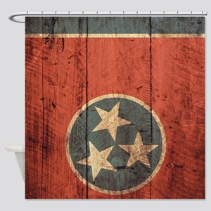 Wooden Tennessee Flag3 Shower Curtain