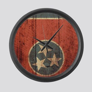 Wooden Tennessee Flag3 Large Wall Clock