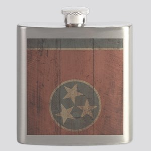 Wooden Tennessee Flag3 Flask