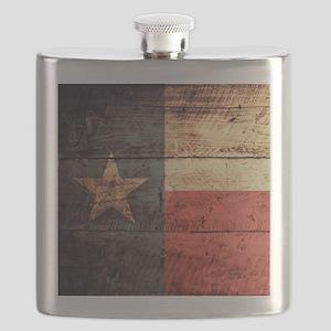 Wooden Texas Flag3 Flask