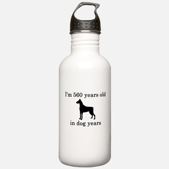 80 birthday dog years doberman Water Bottle
