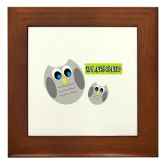 Blessed with cute owls Framed Tile