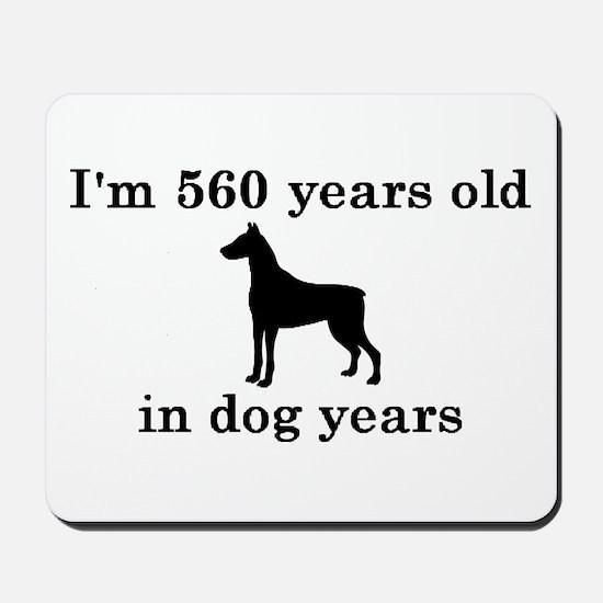 80 birthday dog years doberman 2 Mousepad