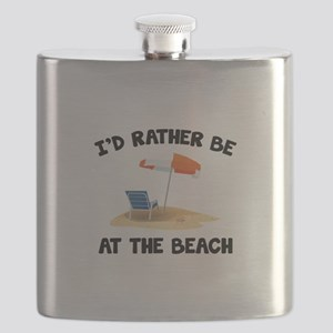 I'd Rather Be At The Beach Flask