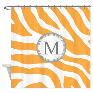Orange Zebra Prints Shower Curtains