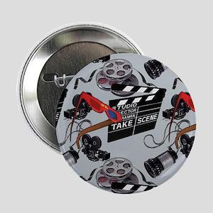 """Vintage Movie Camera Pattern 3 2.25"""" Button (10 pa"""
