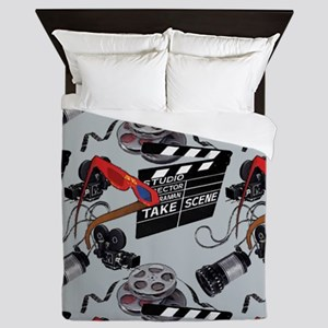 Vintage Movie Camera Pattern 3 Queen Duvet