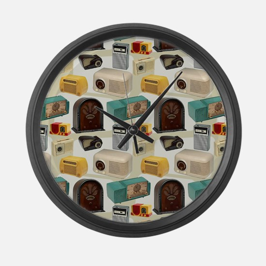 Vintage Radio Pattern 3 Large Wall Clock