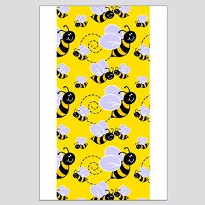 Cute Yellow Black Bee Pattern 1 Posters