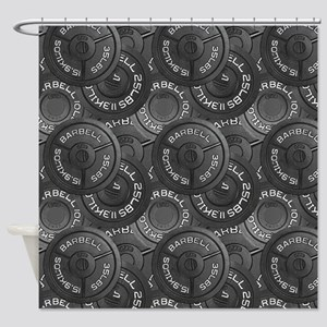 Barbell Weight Lifting Pattern 3 Shower Curtain