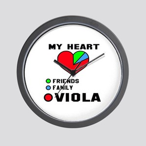 My Heart Friends Family and Viola Wall Clock