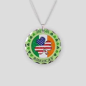 Irish American Necklace Circle Charm