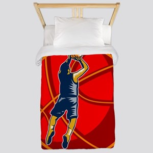 Basketball Player Jump Shot Ball Woodcut retro Twi