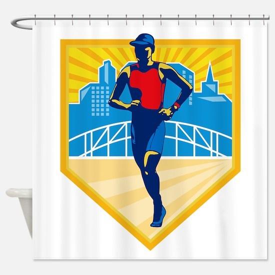 Triathlete Marathon Runner Retro Shower Curtain