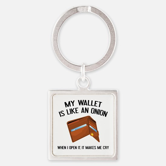 My Wallet Is Like An Onion Square Keychain