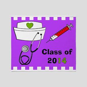 Nurse class 2014 purple Throw Blanket