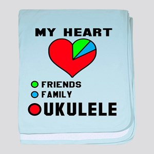 My Heart Friends Family and Ukulele baby blanket