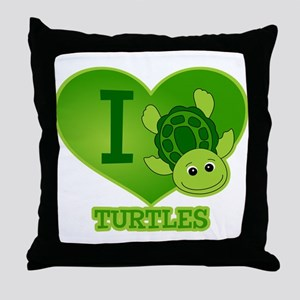I Love Turtles Throw Pillow