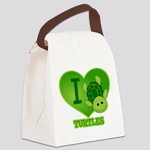 I Love Turtles Canvas Lunch Bag