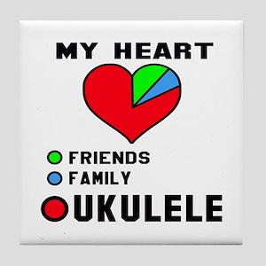 My Heart Friends Family and Ukulele Tile Coaster