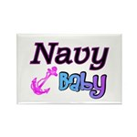 Navy Baby pink anchor Rectangle Magnet (100 pack)