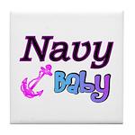 Navy Baby pink anchor Tile Coaster