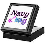 Navy Baby pink anchor Keepsake Box
