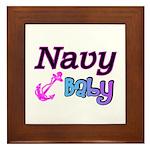 Navy Baby pink anchor Framed Tile