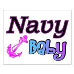 Navy Baby pink anchor Small Poster