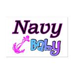 Navy Baby pink anchor  Mini Poster Print