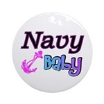Navy Baby pink anchor Ornament (Round)