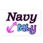 Navy Baby pink anchor Postcards (Package of 8)
