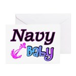 Navy Baby pink anchor Greeting Cards (Package of