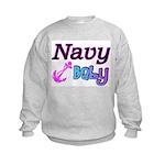 Navy Baby pink anchor Kids Sweatshirt