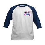 Navy Baby pink anchor Kids Baseball Jersey