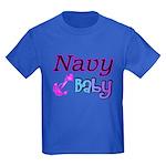 Navy Baby pink anchor Kids Dark T-Shirt