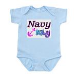Navy Baby pink anchor Infant Bodysuit