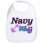 Navy Baby pink anchor Bib