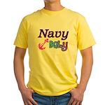 Navy Baby pink anchor Yellow T-Shirt