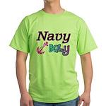 Navy Baby pink anchor Green T-Shirt