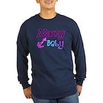 Navy Baby pink anchor Long Sleeve Dark T-Shirt